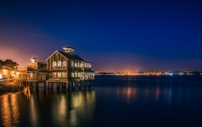 bay, reflection, Pier Cafe, night, San Diego, city