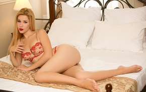 girl, model, in bed, blonde, Marianna Merkulova