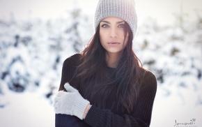 snow, girl outdoors, gloves, girl, beanie, face