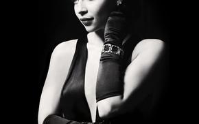 actress, glamour, monochrome, Emilia Clarke, simple background, celebrity
