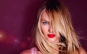 model, girl, Candice Swanepoel, portrait, red lipstick, sensual gaze