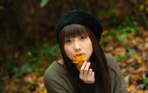 leaves, girl, hat, brunette, millinery, model