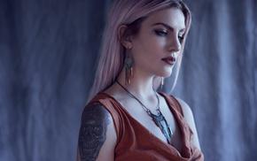 portrait, necklace, girl, face, model