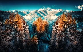 mountains, snow, winter, nature, landscape