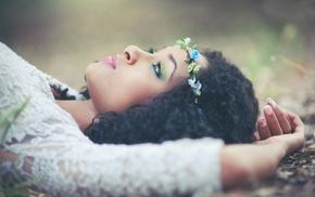 portrait, girl, model, face, ebony, wreaths