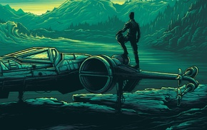 pilot, Star Wars, blue, pastel, forest, mountains
