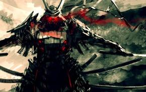 samurai, red eyes