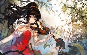 violin, anime, anime girls, original characters, ponytail