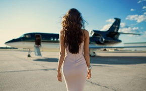 Viki Odintcova, girl, brunette, Aleksandr Mavrin, dress, girl with planes