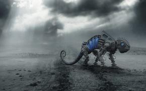 robot, digital art, 3D, artwork, science fiction