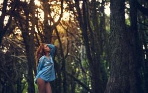 nature, blonde, trees, shirt, portrait, closed eyes