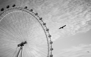 London Eye, monochrome, photography, ferris wheel, London, wheels