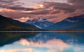 British Columbia, mountains, forest, sunset, lake, calm