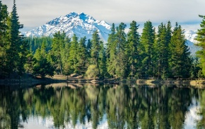 reflection, mountains, landscape, water, forest, snowy peak