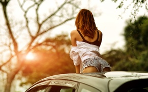 sunset, ass, looking away, girl with cars, jean shorts, girl