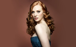 redhead, girl, actress, red background, Deborah Ann Woll