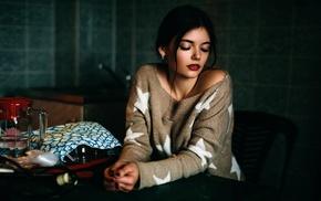 model, girl, red lipstick, sweater