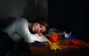 girl, sleeping, model