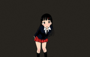 dark hair, black hair, manga, school uniform, long hair, Tsuttsu