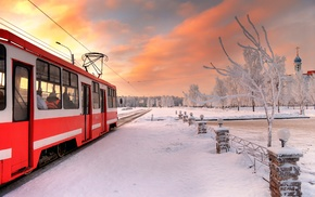 St. Petersburg, snow, tram, winter, vehicle