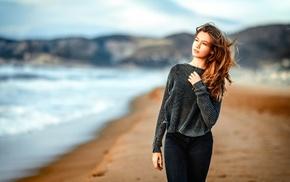 wavy hair, Gustavo Terzaghi, depth of field, model, girl, windy
