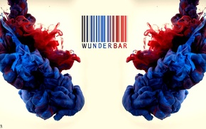 paint in water, barcode, colorful, blue, water, German