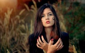 hands, face, girl, model, portrait
