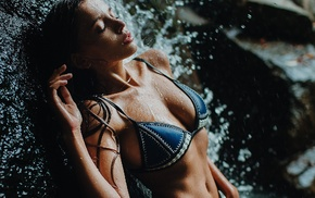 sideboob, girl, closed eyes, wet, waterfall, tanned