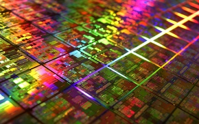 gold, colorful, CPU, photography, microchip, DIE