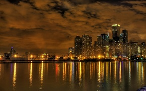 lights, city, water, photography, cityscape, Chicago