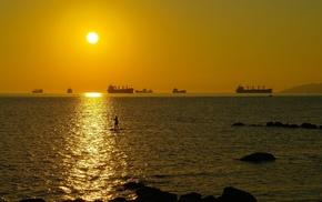 water, sunset, rock, nature, ship, landscape
