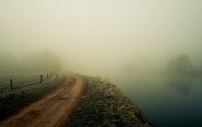 river, photography, path, nature, grass, mist