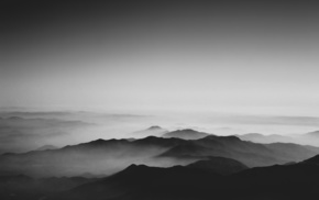 mountains, landscape, nature, monochrome, photography, mist