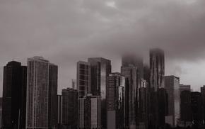 cityscape, building, city, mist, urban, monochrome