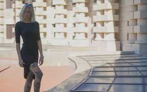 legs, girl outdoors, tattoo, skirt, black dress, sunglasses