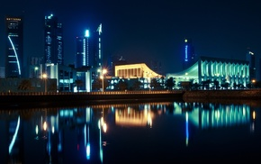 cityscape, architecture, reflection, building, Panasonic, night