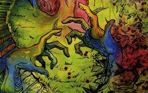 artwork, flowers, digital art, hands, blood stains, psychedelic