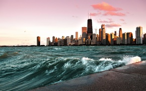 skyscraper, waves, Chicago, cityscape, photography, building