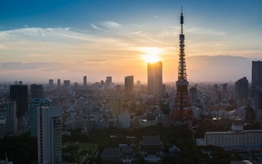 Tokyo Tower, building, city, cityscape, Japan, Tokyo