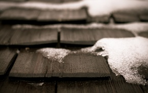 snow, photography, depth of field, wood, rooftops