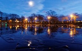night, dusk, park, Aberdeen, Scotland