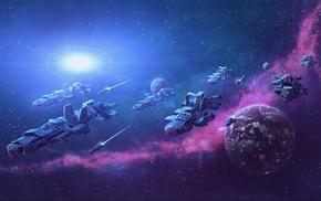 space, spaceship, planet