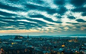 clouds, UK, Scotland, street, Edinburgh, city