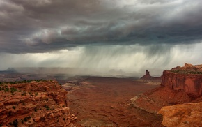 landscape, rain, rock, desert, nature, clouds