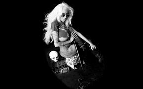 girl, model, skull, monochrome