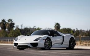 white cars, Porsche 918 Spyder, car