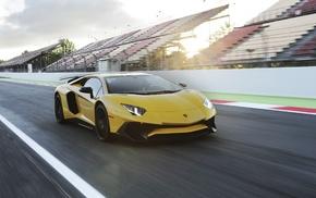 race tracks, car, motion blur, Lamborghini Aventador LP750, 4 SV