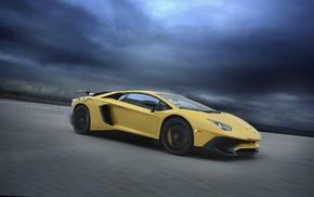 race tracks, Lamborghini Aventador LP750, 4 SV, motion blur, car