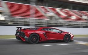 motion blur, race tracks, car, Lamborghini Aventador LP750, 4 SV