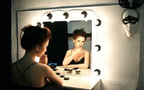reflection, girl, mirror, model